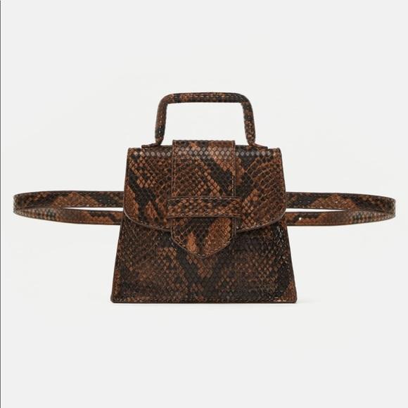 575adcb206e Zara Bags | Snakeskin Print Crossbody And Belt Mini Bag | Poshmark